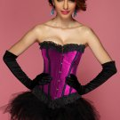 Contrasting Lines Satin Lace Corset Bustier with Pettiskirt in Blue and Purple