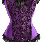 Purple Elegant Purple Lace Trimmed Corset Bustier