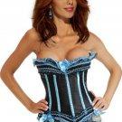 Blue Strapless Burlesque Corset Bustier