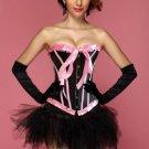 Black Pink Bubblegum Dreams Burlesque Corset Bustier & Pettiskirt