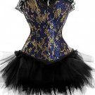 Blue Lace Trimmed Emperial Lace Prints Corset Bustier Corset with Tutu Skirt