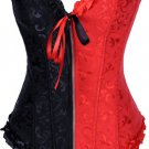 Red and Black Jacquard Tapestry Corset