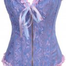 Blue Victorian Jacquard Tapestry Zipper Corset Bustier