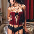 Sexy Red Velvet Criss Cross Lace Up Grommet Bustier Corset