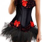 Elegant Lace Trimmed Corset Bustier with Tutu Skirt