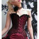 Red Elegant Jaquad Floral Print Corset Bustier