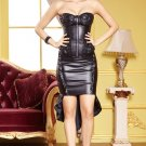 Black Faux Leather Underwire Cup Corset