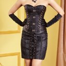 Black Faux Leather Floral Embroidered Overbust Corset