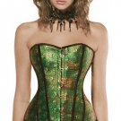 Skull Head Print Faux Leather Overbust Corset Bustier Basque Top
