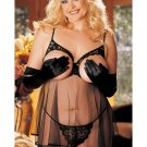 Plus Size Open Cup Ruffled Babydoll