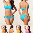 Sexy Ruffle Bandeau Top Bikini With Ties At Back