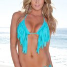 Sexy Fringe Triangle Top Bikini Set With Goldstone Detail