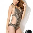Sexy Cut Out Leopard Print Celebrities Style Monokini with Decorative Straps