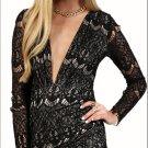 Enchanting Long Sleeve Lace V Neck Clubwear Mini Dress