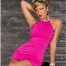 Pink Rhinestone Crew Neck Strapless Mini Dress Clubwear