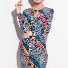 Color Zebra Pattern Print Club Bobycon Dress
