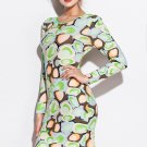 Candy Color Long Sleeve Stone Pattern Print Club Dress