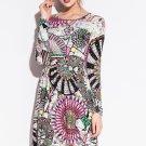 Digital Windmill Pattern Print Club Dress
