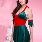Sexy Red Green Halter Deep V Backless Leaf Cutting Christmas Costume