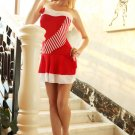 Red Velvet Stretch Strapless Mini Dress with Plush Trim.
