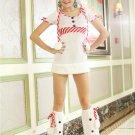Snowman Candy Cane Lovely Roun Neck Short Sleeve Dress