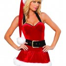 Mini Velvet Halter Christmas Dress