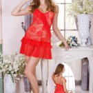 Red Floral Embroidered Chemise
