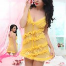 See-through Yellow Mesh Babydoll with Plush Trim