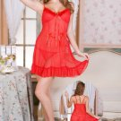 Ruffled Hem Red Babydoll