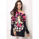 Novelty Character Print Long Sleeves Round Neck Tunic Top Blouse