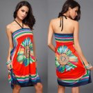 Flower Print Mini Halter Neck Sexy Beach Dress/Wrapper