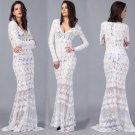 Sheer Mesh Embroidered Lace Maxi Dress