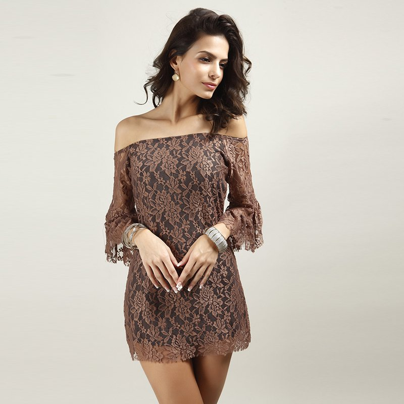 Sexy Club Hollow Lace Top Slash Neck Mini Butterfly Sleeved Dress