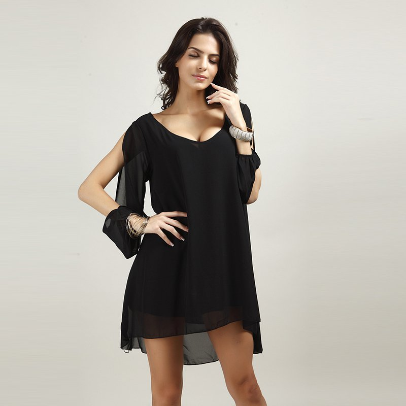 Vintage Cut-out Sleeves Loose Mini Casual Beach Party Chiffon Dress