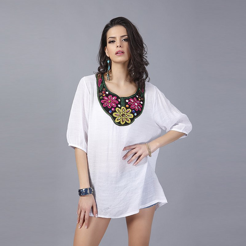 Vintage Embroidery Beaded Neck Short Sleeves Top Casual Party Mini Dress