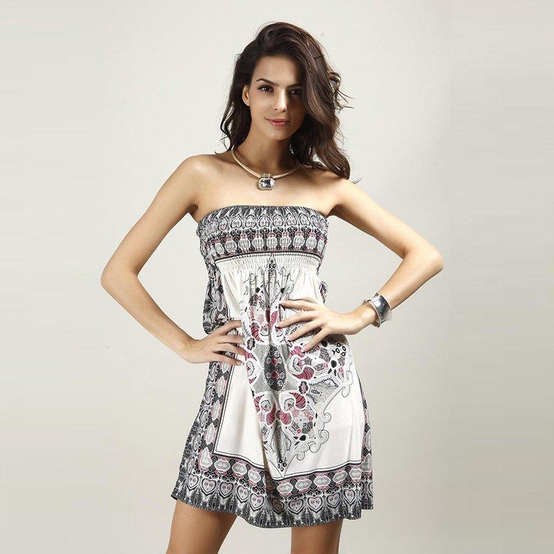 Bohemian Stye Off Shoulder Strapless Mini Beach Dress