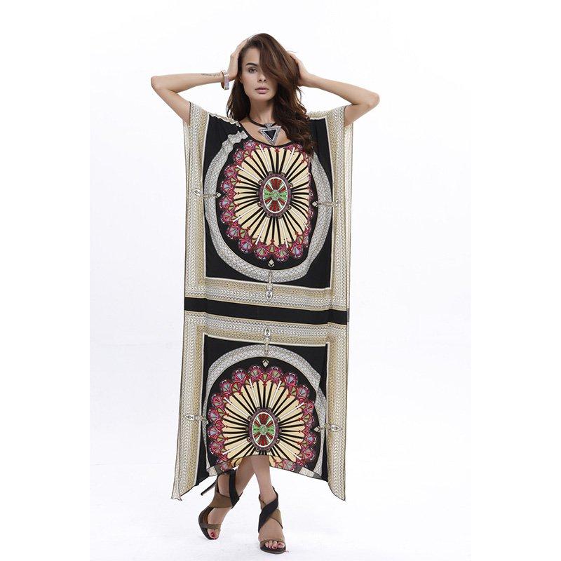 Retro Style Native American Boho Poncho Long Dress