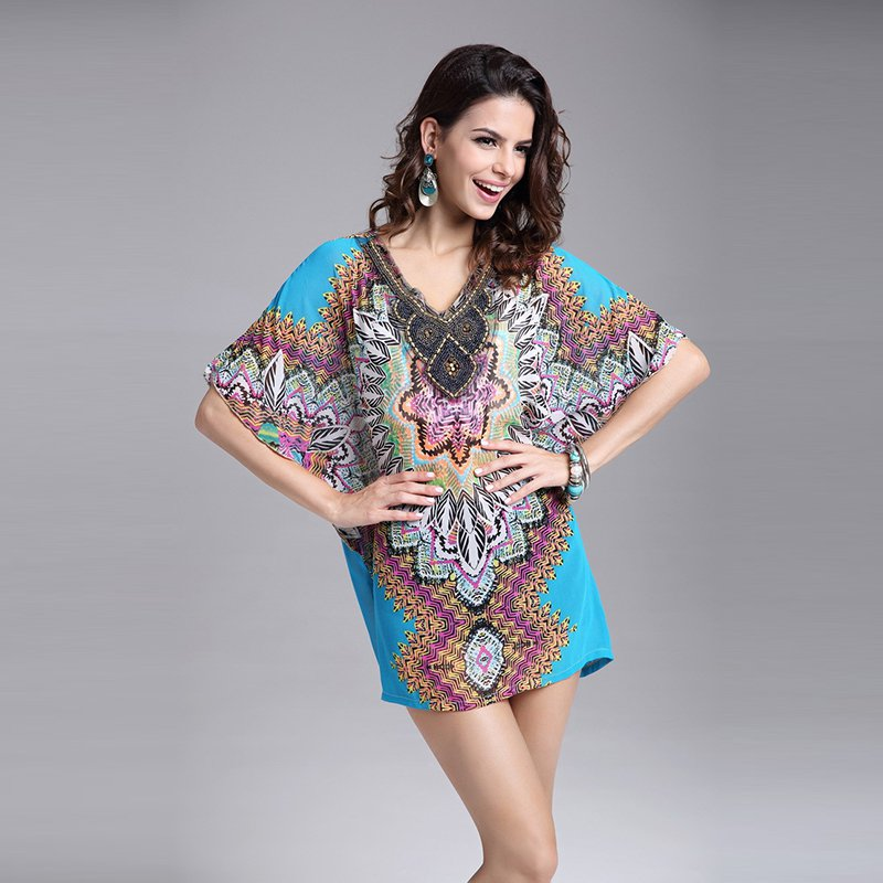 Vintage Flower Bohemian Style Chiffon Blouses Casual Poncho With Bawting Sleeves