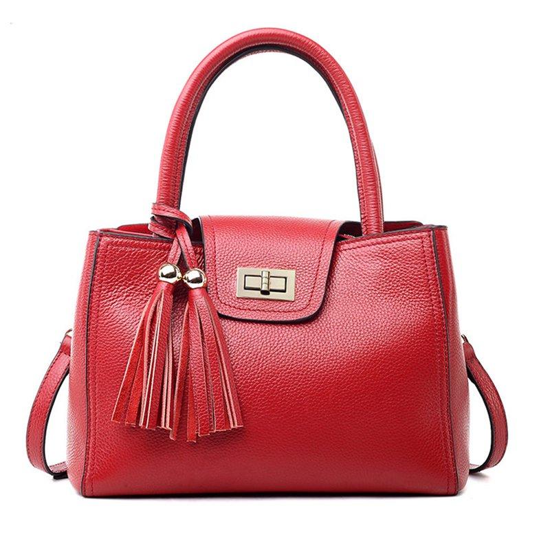 Tassel Turn Twist Genuine Leather Tote Handbag
