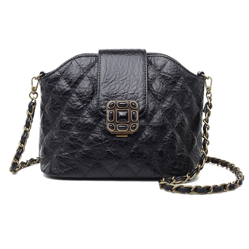 Quilted Genuine Leather Mini Shoulder Bag