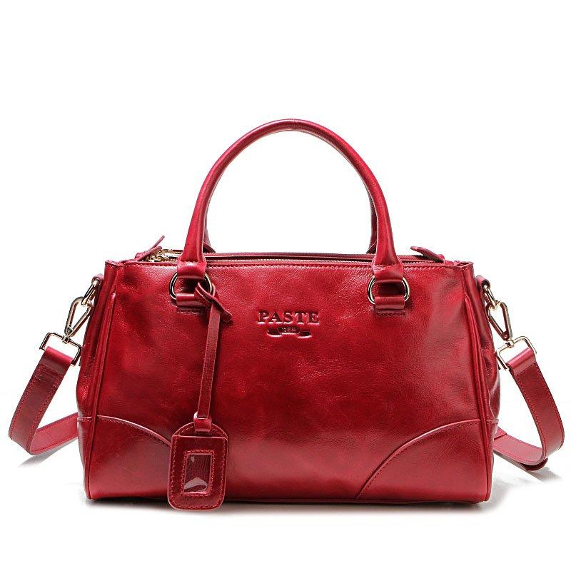 Soft Genuine Leather Lady Tote Handbag Three Zipper Design