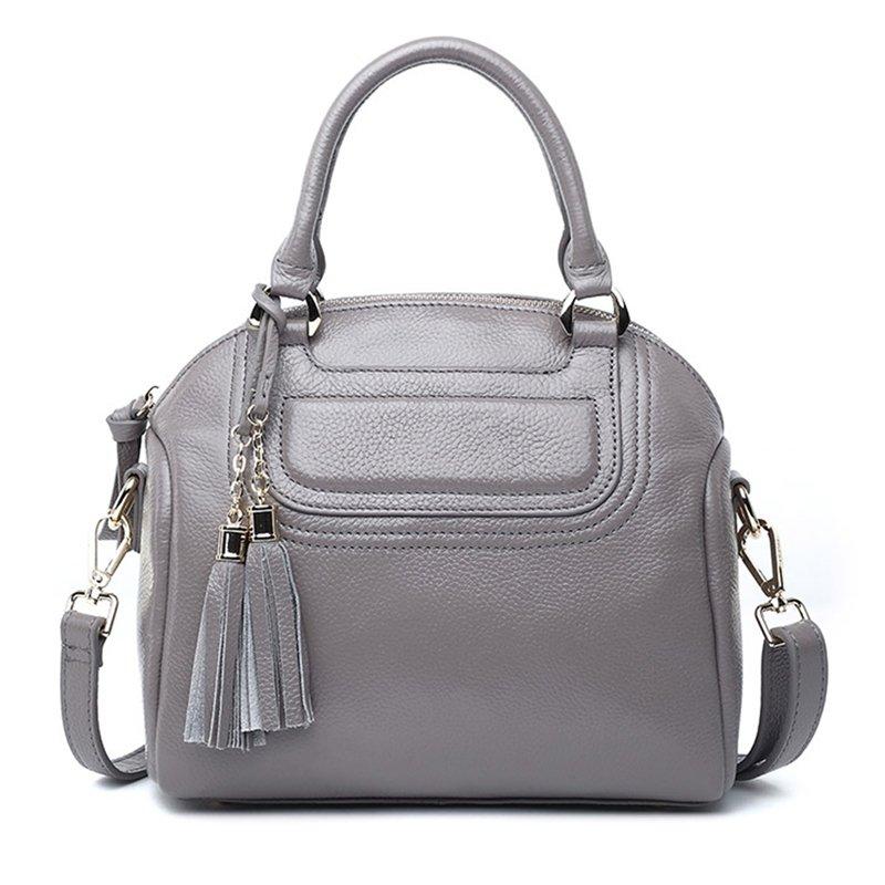 Classic Genuine Leather Tote Handbag with Tassel