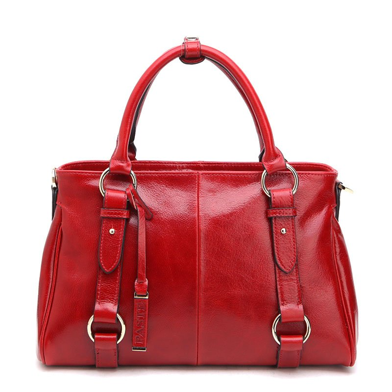 Large Belt Accent Genuine Leather Tote Bag