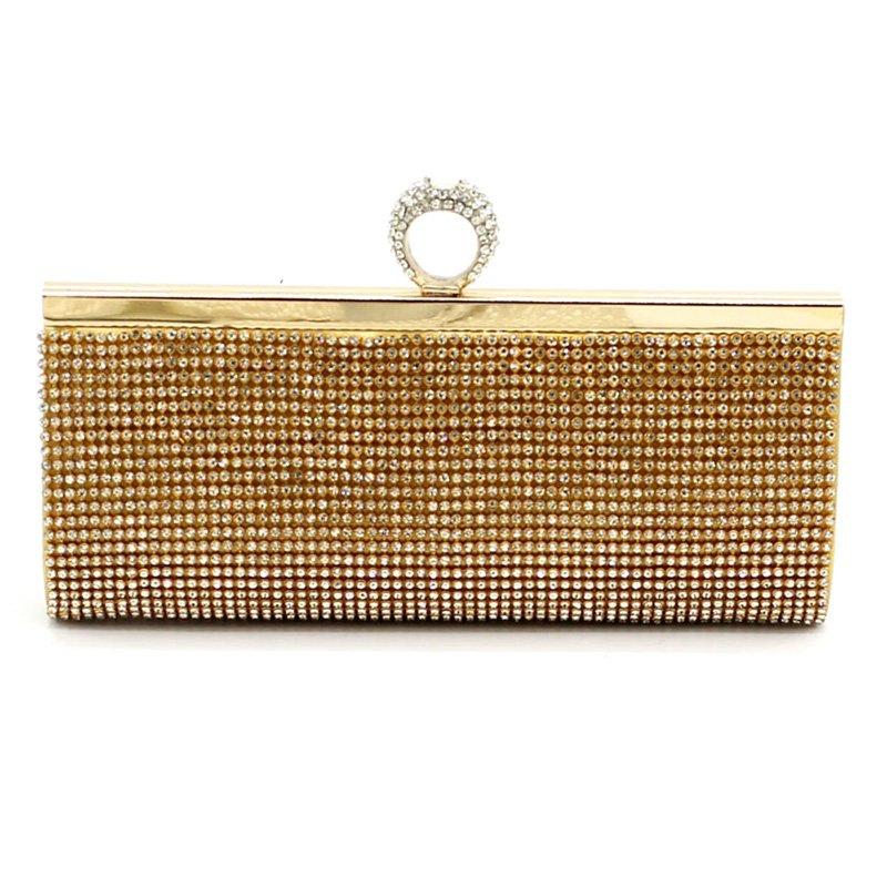Rhinestone Ring Flap Evening Bag Clutch