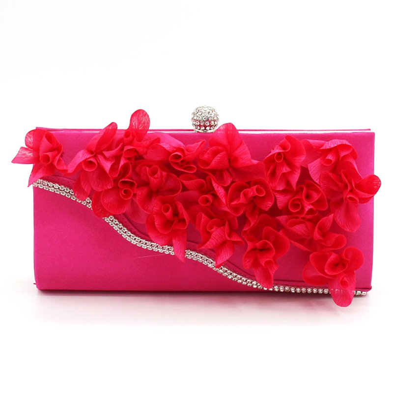 Chic Floral Satin Diamond Evening Clutch Bag