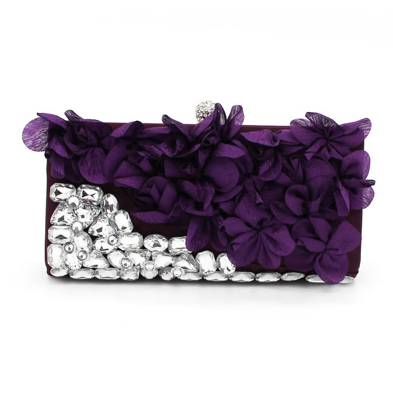Dazzling Rhinestone Chic Floral Evening Party Clutch
