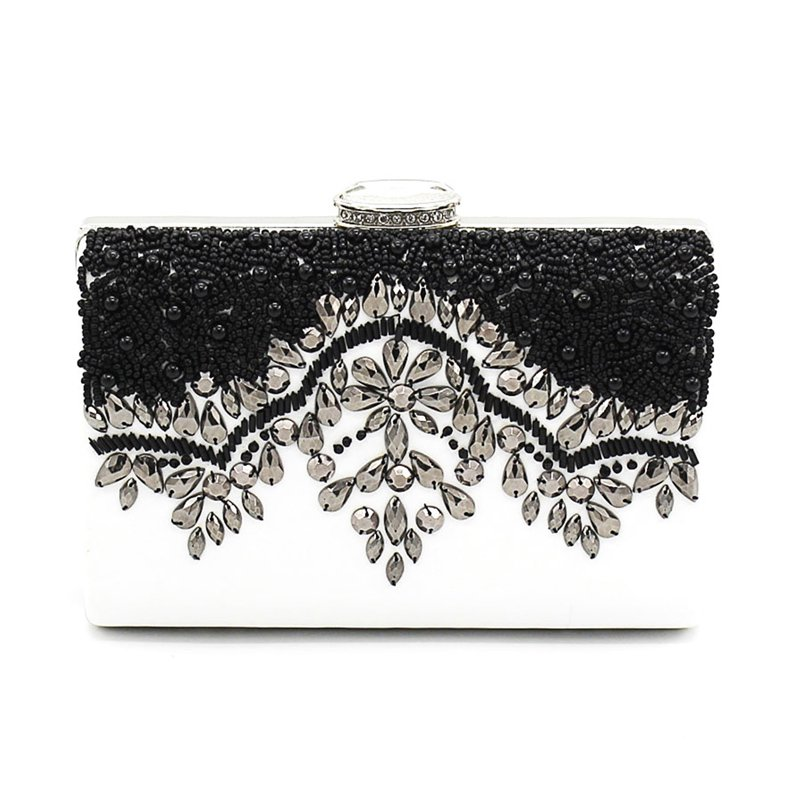 Beading Clutch Evening Bag Contrast Color