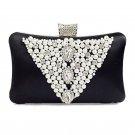 Pearl Beads / Rhinestone Brooches Hard Case Clutch Evening Bag