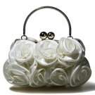 Satin Evening Bag with Rosettes