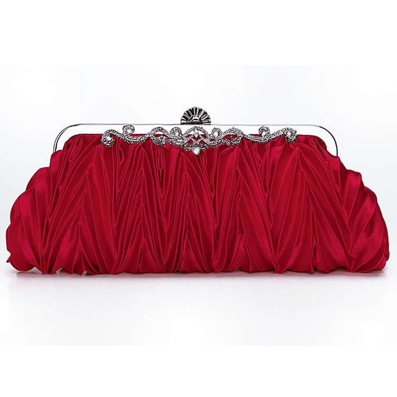 Satin Pleated Envelope Evening Cocktail Wedding Party Handbag Clutch